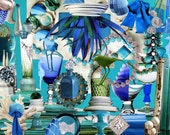 """Teal, Blue, and Green Collage Print 14""""x11"""""""