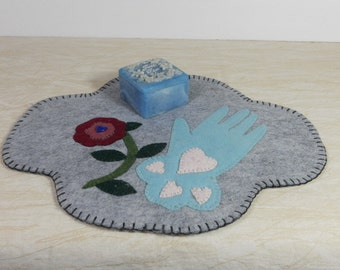 Candle Mat, Victorian Style Wool, Table Mat, Made in USA