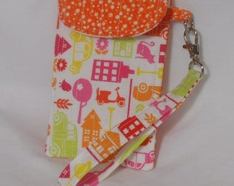 Little Girl  Wristlet, Fabric Wristlet Retro Pink, Orange Dots, Made in USA