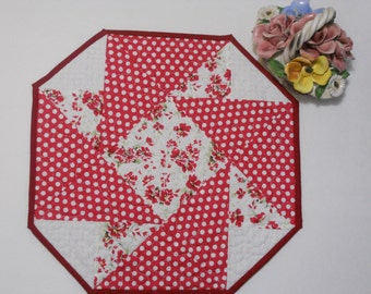 Red White Table Mat, Candle Mat, Florals and Polka Dots Quilted, Gift Under 20