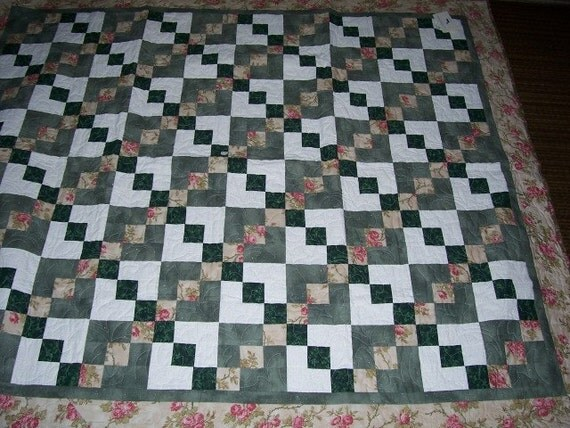 Quilted Lap Quilt, Pink Green Quilt, Floral Quilt, Wedding Gift, Handmade Quilt, Made in Maine USA