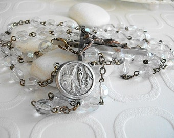 Vintage Lourdes Reliquary Rosary Lourdes