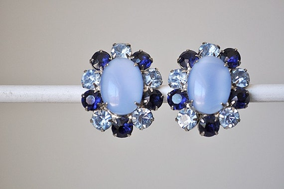 Vintage 1950's Sapphire and Sky Blue Earrings