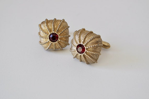 Vintage Ruby Red Glass Cufflinks