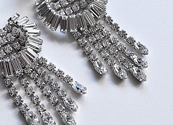 Vintage Art Deco Rhinestone Duster Earrings