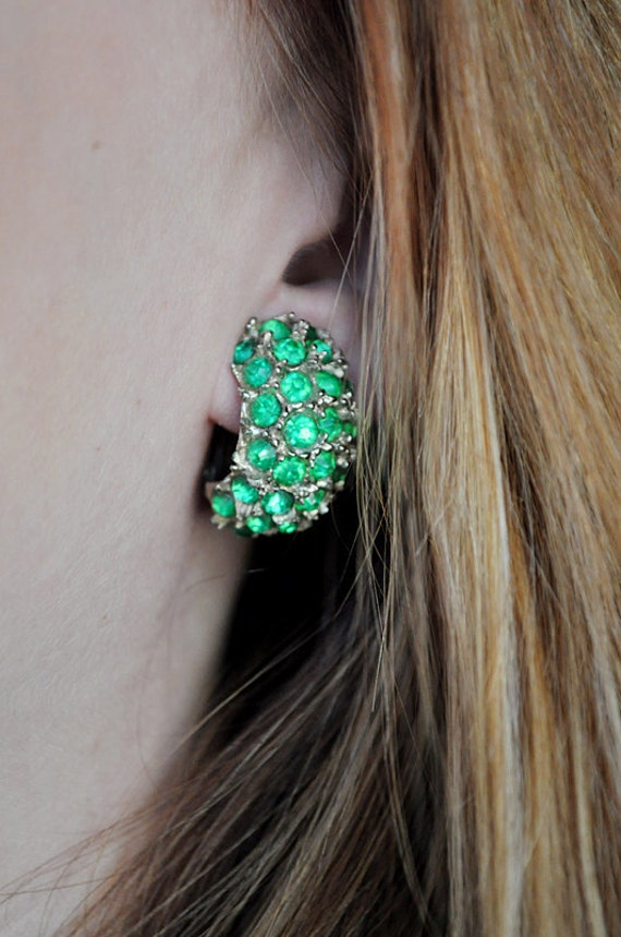 Chunky Vintage Green Glass Earrings