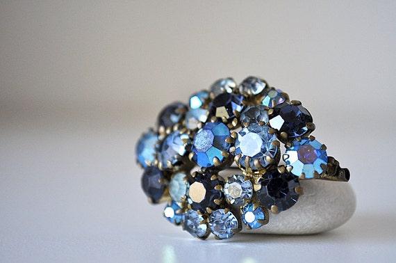 Vintage Sparkling Blue Brooch