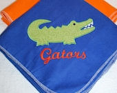Orange and Blue Extra Large Swaddling Blankets, Set of 2, Two Appliqued Blankets, Made to Order, FREE Name Monogram