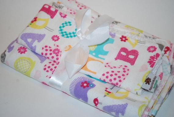 ABC Animals Swaddling/Receiving Blanket and Burp Cloth Set, FREE Monogram