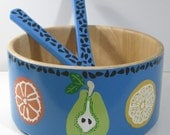 Hand Painted Salad Bowl&Servers- Modern Fruit Design