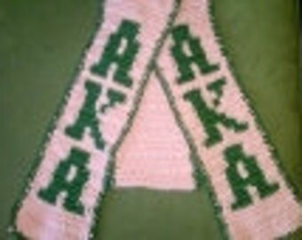 Crochet Hat and Scarf Set made with AKA Sorority Colors - Women's Clothing Accessories
