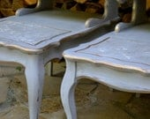 Vintage Handpainted Upcycled Repurposed Paris Grey French Provincial End Tables