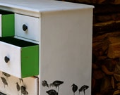 Vintage Up Cycled Hand Painted Sandpiper Storage Chest