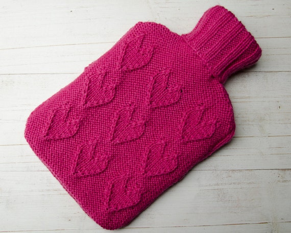 Hot Water Bottle Cover Knitted  Pink Hearts Textured Pattern