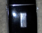 Vintage Evans Art Deco Black Silver Cigarrette Case Lighter Free ship