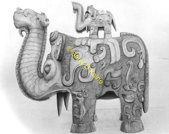 Chinese Elephants Statue pencil drawing print