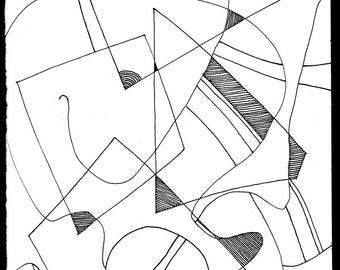Abstract Geometric ink .162 print