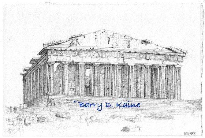 Acropolis Sketch acropolis athens greece pencil drawing print by ...