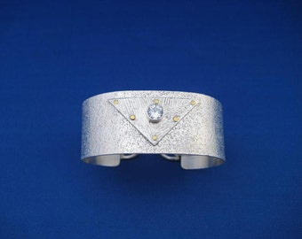 Cuff Bracelet  of Sterling Silver, CZ  & Brass