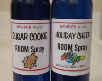 HOLIDAY Room/Linen/Car Sprays, Choose Your Christmas Scent, 100% NATURAL organic essential oils