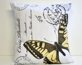 Yellow butterfly pillow cover - 16x16