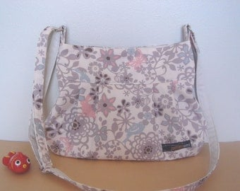 Pleated bag (M) crossbody - gray floral