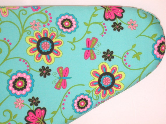 Ironing Board Cover - Pink, Yellow, and Blue Flowers and Butterflies.