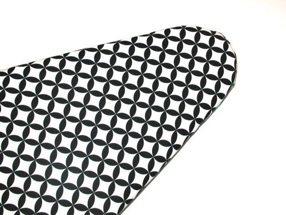 Ironing Board Cover in Black and White Diamond Eye by Alexander Henry Fabric