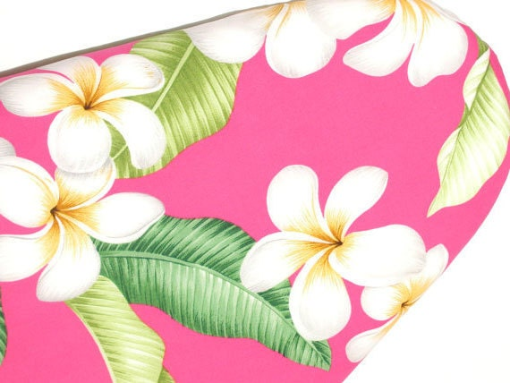 Ironing Board cover Hawaiian style Large plumerias on pink background.