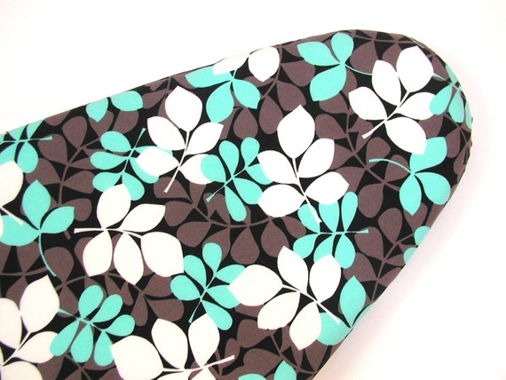Cotton Ironing Board Cover - Aqua, Blue, Black, White, Lt Brown -  Michael Millers Falling Leaves