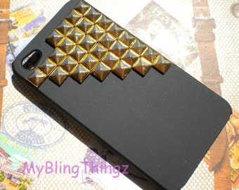 Bronze Metal Brass Pyramid Studs on Black Hard Back Case Cover for Apple iPhone 4 4G 4S AT&T Verizon Sprint
