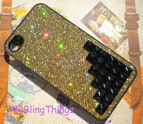 Black Pyramid Studs on Gold Glitter Sparkle Bling Case Cover for Apple iPhone 4 4G 4S AT&T Verizon Sprint