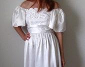 White Dress. Edwardian. Spring Wedding. Delicate Dainty. Wedding Dress. Boho. Spring Fashion. Tea Length Wedding