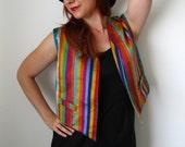 Summer Sale - Vintage 1960s Silk Rainbow Vest. Gypsy.  Boho. Summer. Fall. Back To School. Size Medium