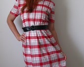 Sale- Red Plaid Dress. Office Fashion. Casual Dress. Spring Fashion. Summer Cotton Dress