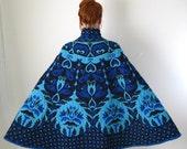 1960s Cape Coat Royal Blue Art Nouveau Woodland