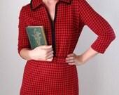 Sale-1950s Preppy Red Dress Buffalo Plaid Wiggle  Office Fashion Mid Century Modern Mad Men
