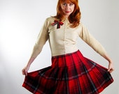Pendleton. Pleated Skirt. Preppy. Red Wool Plaid . Mad Men Office.  Winter