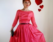 Sale-1950s Pink Dress Full Skirt . Mad Men  Party .Wedding . Valentines Day. Cocktail Dress. Formal Dress.Love