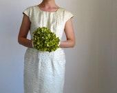 RESERVED for Alice-- Vintage 1950s Cream Brocade Dress. Wedding Dress. Cocktail. Audrey Hepburn. Summer. Fall Wedding.  Size Medium