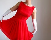 1950s Dress. Red. Cocktail Dress. Party Dress. Mad Men Fashion. Weddings. Spring Fashion. Romantic Dress