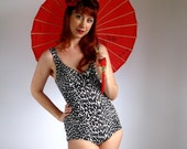 Vintage 1960s Leopard Print Swimsuit. One Piece. Black White. Mad Men Fashion. Pin-Up. Size Small