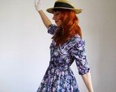RESERVED for Karina--Navy Blue Purple Dress. Floral Dress. Spring Fashion. Romantic Dress. Easter Dress. Mothers Day Dress. Size Large
