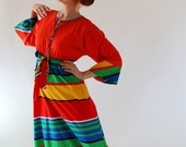 Sale - 1970s Rainbow Maxi Dress. Color Block. Maxi. Rainbow Print. Resort. Spring Fashion. Summer Fashion. Size Large