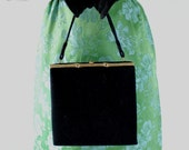 Vintage 1950s Black Purse. Mad Men Fashion. Office. Cocktail Party. Spring Fashion. Weddings