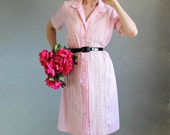 Sale -1960s Pink Lace Pastel Shirt Dress.. Shirtdress. Day Dress. Mad Men Fashion. Weddings. Summer Fashion. Spring Fashion. Size Large