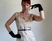 Sale - Vintage 1960s Gold Brocade Wiggle Dress.Cocktail. Audrey Hepburn. Mad Men Fashion. Weddings. Summer. Fall Fashion. Size Large