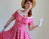 1950s Dress. 50s Dress. Pink. Polka Dots. Day Dress. Lace. Mad Men. Weddings. Garden Party Dress. Size Medium