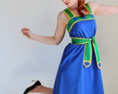 Sale - Vintage 1970s Dress. Blue Yellow Green. Sundress. Mod. Resort. Day Dress. Weddings. Fall Fashion. Back To School.  Size Large