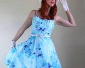 Christmas In July Sale - 1960s Floral Sundress. Aqua Blue. Weddings. Mad Men. Summer Dress. Garden Party Dress. Size Medium